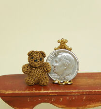 Vintage Crochet Teddy Bear Nursery Toy Artisan Dollhouse Miniature 1:12