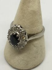 18ct White Gold Diamond And Saphire Ring. Size Q