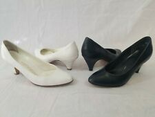 2 Vintage 1960-80s Heel Pumps White Navy Blue Size 4
