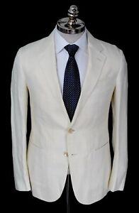 NWT CARUSO Ivory Plaid Linen Wool Slim Fit Notch Lapel Sport Coat 38 S (EU 48)