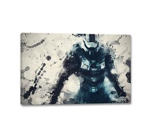 Halo 4 Master Chief Splash Art 90x60cm Leinwandbild Aquarell Wandbilder Caro Art