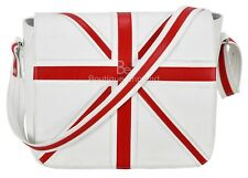 Leather Cross Body Unisex Bag Union Jack White Laptop,Satchel,Messenger Bag 2760
