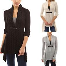 Damen Longshirt Pullover Strick Cardigan Jacke Strickjacke Kleid Bluse Lang