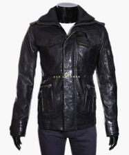 Leather Hip Length Funnel Neck Coats & Jackets for Men