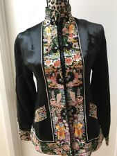 Vintage Chinese Hand Embroidered Peking Knot Thick Silk Jkt Fully Lined Sz XS