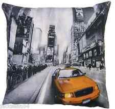 "QUIRKY NEW YORK  AMERICA MANHATTAN USA BLACK MULTI 18"" CUSHION COVER"
