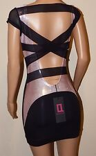BNWT backless black baby pink shimmer bodycon sheer cut out mini dress 6 8 10