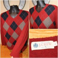 Mens J CREW 100% Lambswool Red Argyle V-Neck Sweater Pullover Size Large L