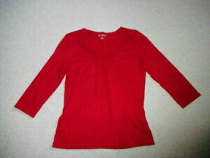 Womens Top-TALBOTS-dark red 100% Cotton knit  3/4 slvs-PS