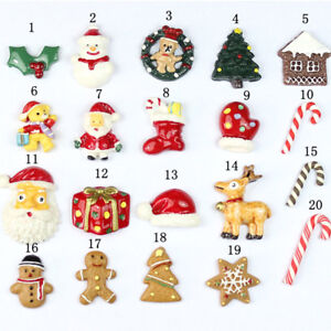 10pcs DIY Christmas Resin Snowman Santa Claus Tree Candy Cane Miniature Ornament