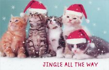 "14 Holiday Cards ""JINGLE ALL THE WAY"" 5 Kittens Cats Christmas Cards Sparkle NIB"