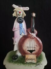 """Zampiva Clown with Cello Figurine Spaghetti Hair - Signed from Italy 6"""""""