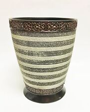 NEW RESIN CREAM+BROWN AND GRAY STRIPED TEXTURED TRASH CAN,WASTE BASKET