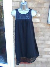 Ladies womens black cotton summer beach casual dress size 10 M lace