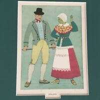 Vintage Finland National Costume Lithograph Print Professionally Matted 9x12