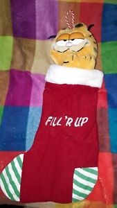 GARFIELD 1978 VINTAGE CHRISTMAS STOCKING PLUSH 'FILL R UP' VGC WITH HANGING HOOK