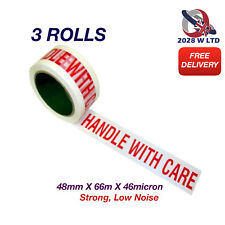 Handle with Care Parcel Packing Tape 48mm*66m*46mic, Strong, Low Noise (3 Rolls)