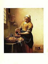"""1981 Vintage VERMEER """"THE MILKMAID"""" GORGEOUS COLOR offset Lithograph"""