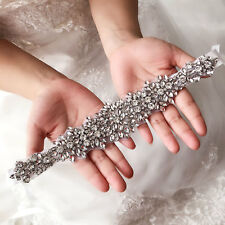 Handmade Bridal Sash Bride Wedding Rhinstone Crystal Dress Belt Satin Ribbon New