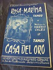 Partition Rosa Casa Marina del oro Valerio Shim Music Sheet 1958