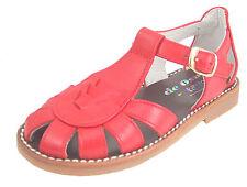 DE OSU 3468 - Girls'-Boys' Red Leather European Fisherman Sandals - Size 6-6.5
