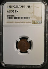 1835 Great Britain 1/3 Farthing, NGC AU55 BN, Date DDO