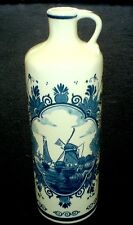 Delfts blue / white  bottle with handle 10 inch high - Windmill / Flower image
