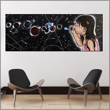 Banksy Respray Bubble Galaxy Planets Street Art Textured Painting 160cm x 60cm