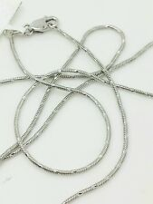 """14k Solid Gold White on White Round Snake Necklace Chain 20"""" 1.0mm"""