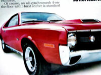 1970 AMC AMX ORIGINAL AD *290/360/390 v8/hood/door/steering wheel/decal/Javelin