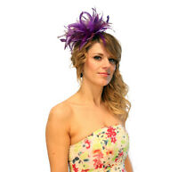 Purple  Feather Fascinator hat headband or comb add extra colours  Wedding races