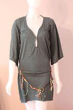 La Rok Green Tunic Mini Dress w/ Beaded Belt XS Extra Small