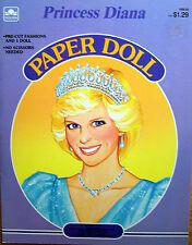 VINTAGE 1985 GOLDEN PRINCESS DI PAPER DOLL PRINCESS DIANA BOOK UNCUT