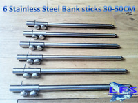 6 x New Fishing Stainless Steel Solid Bank Sticks 30-50cm Double Screw