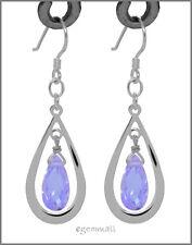 925 Silver Pear Drop Dangle Earring Cz Lavender #65263
