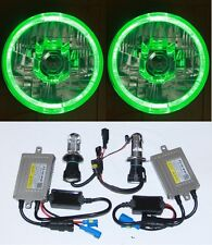 55W HID Hi/Lo Beam Round Headlight GREEN LED Halo for Ford F100 F150 F250 F350