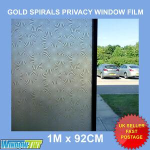 GOLD SPIRALS DECORATIVE PRIVACY WINDOW FILM - 92cm x 1m ROLL SHOWER (24) S037