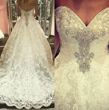 Sweetheart Beaded Lace Wedding Dress A-Line Bridal Gown Custom ALL Size 2-22++++
