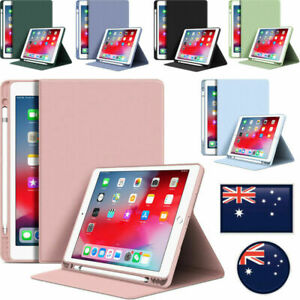 For iPad 5th 6th 7th 8th 9th Gen Air Pro Mini Case Smart Leather Cover Pen Slot