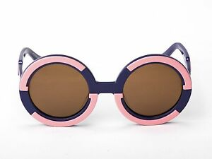 Sobo Sunglasses - Navy Blue and Pink with Brown Lens