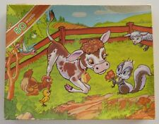 Arrow Puzzles Country Capers 'Calf' 50 Piece Wooden Jigsaw Puzzle Vintage 1979