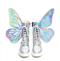 Genuine Leather Girls Womens Punk Ankle Boots Multi-color Butterfly Wing Shoes