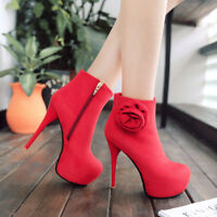 Womens Zip Stiletto Platform High Heel Ankle Boots Party Shoes UK Plus Size 1-10