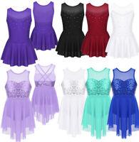 Girls Sequins Ballet Tutu Dress Gymnastics Dance Leotard Skirt Dancewear Costume