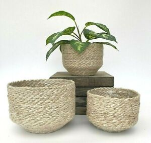 Rustic Natural Moroccan Style Woven Lined Plant Herb Flower Pot Basket Holder