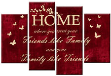 RED TONED CREAM CANVAS HOME FAMILY FRIENDS QUOTE PICTURE MULTI 4 PANEL ART 100cm