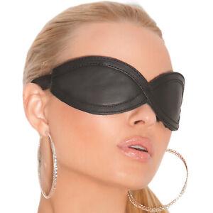 Padded Leather Blindfold Adjustable Elastic Strap Sleep Mask Fleece Lined L9987