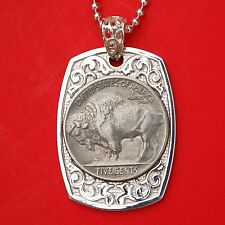 US 1913 ~ 38 Indian Head Buffalo Nickel 925 Sterling Silver Dog Tag Necklace NEW