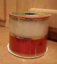 2.5 in x 9 ft Red/White Sheer Mesh Wired Edge Ribbon w/Metallic Gold Trim