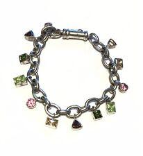 Ti Sento Sterling Silver Charm Bracelet Colorful Cubic Zirconia 36g
